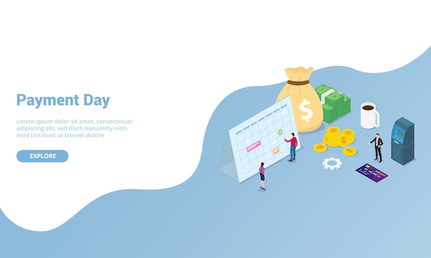 Día de pago o concepto de nómina para la plantilla del sitio web o la página de inicio con estilo moderno isométrico