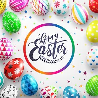 Día de pascua con coloridos huevos de pascua pintados