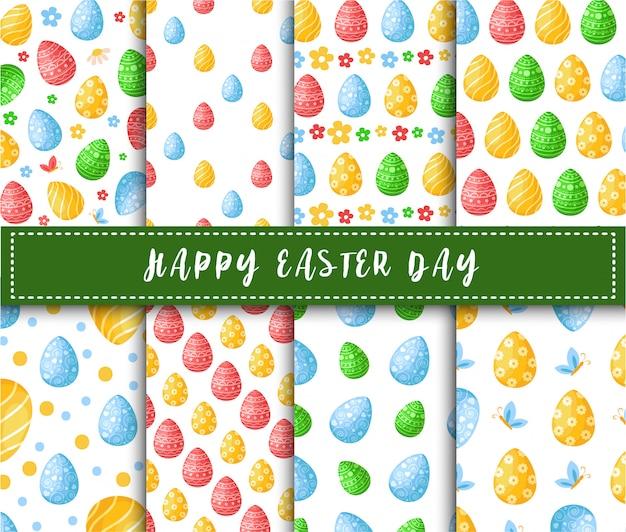 Día de pascua - conjunto de patrones sin fisuras con huevos de pascua, flores, mariposas sobre fondo blanco