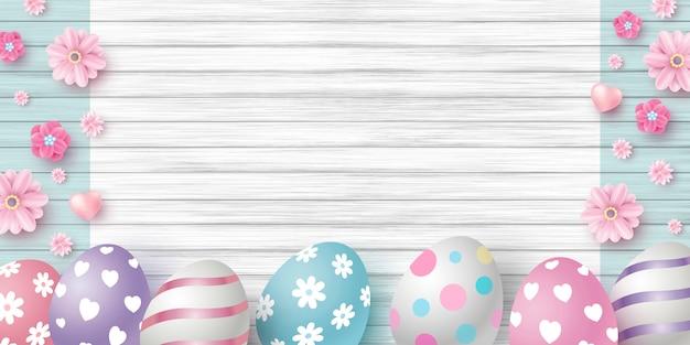 Día de pascua diseño de huevos y flores.