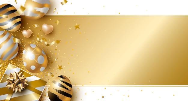 Día de pascua diseño de huevos de oro y caja de regalo.