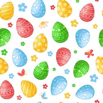 Día de pascua: patrones sin fisuras con huevos de pascua, flores de colores de fondo o textura infinita