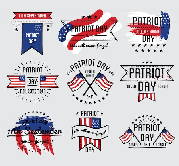 Día del patriota conjunto de vectores. 11 de septiembre. 911. ilustración vectorial.