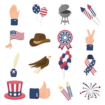 Día patriota de dibujos animados conjunto de iconos de vector. ilustración de vector de patriota del día americano.