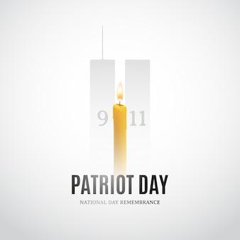 Día del patriota con velas y siluetas de construcción.