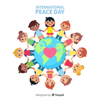 Día de paz plana con niños