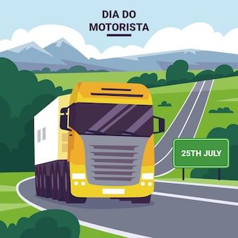 Dia plana do motorista ilustración con camión