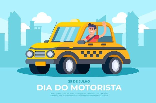 Dia plana do motorista ilustración