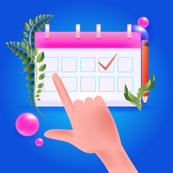 Día de planificación de la mano del empresario programación de citas en el concepto de gestión del tiempo del calendario ilustración vectorial horizontal