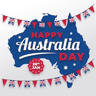 Día plano de australia con mapa y guirnalda