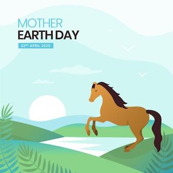 Día plano de la madre tierra con caballo