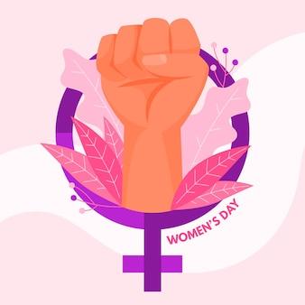 Día plano de las mujeres con puño poderoso