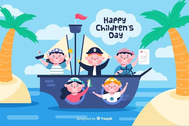 Día plano del niño con niños siendo piratas