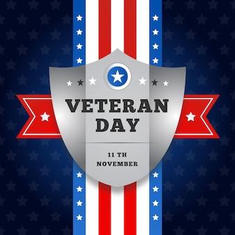 Día plano de los veteranos con bandera americana y escudo