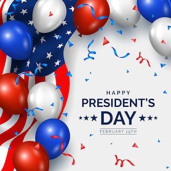 Día del presidente con adornos realistas