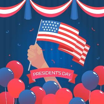 Día del presidente con bandera de estados unidos