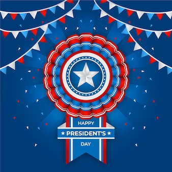 Día del presidente con bandera realista y guirnaldas