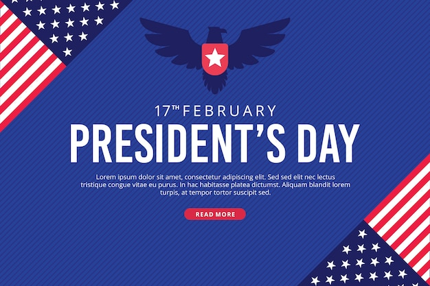Día del presidente con banderas y águila