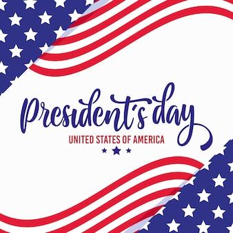 Día del presidente con banderas y estrellas.
