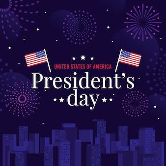 Día del presidente con banderas y fuegos artificiales.