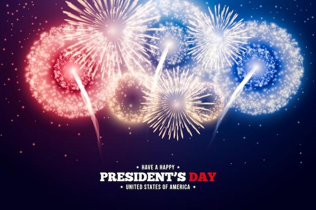 Día del presidente con coloridos fuegos artificiales.