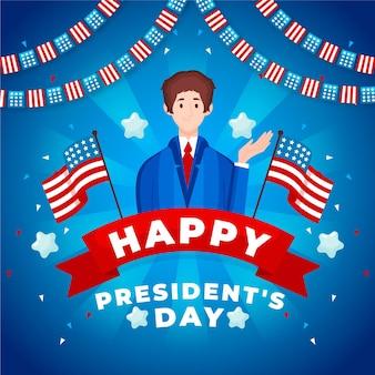 Día del presidente dibujado a mano