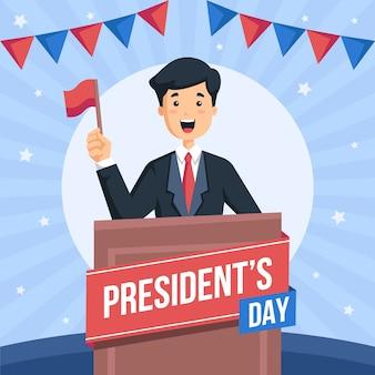 Día del presidente en diseño plano