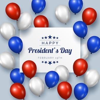 Día del presidente con globos de diseño realista.