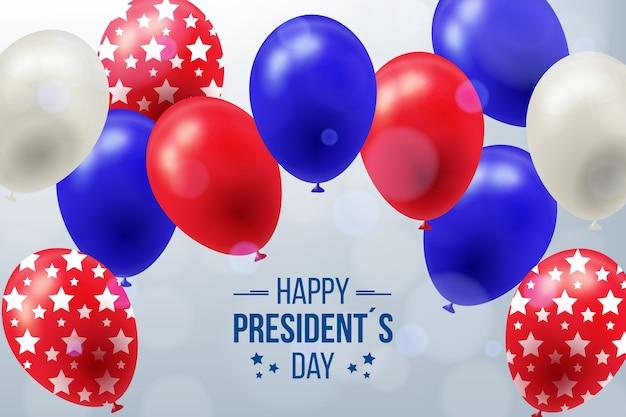 Día del presidente con globos y estrellas realistas.