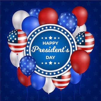 Día del presidente con globos realistas y bandera