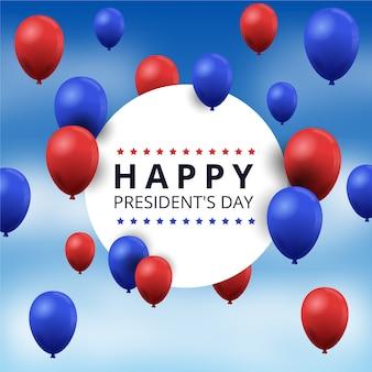 Día del presidente con globos realistas y cielo