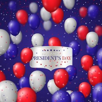 Día del presidente con globos realistas y confeti de colores.