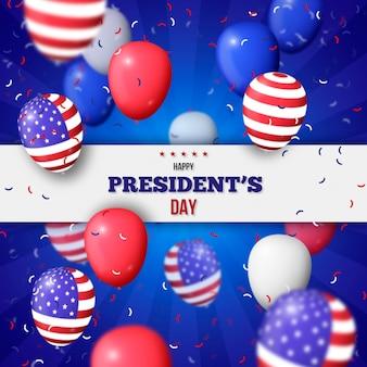 Día del presidente con globos realistas y confeti.