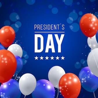 Día del presidente con globos realistas