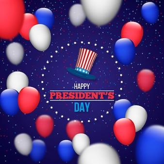 Día del presidente con globos y sombrero realistas.