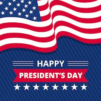 Día del presidente plana con bandera americana