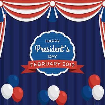 Día del presidente plano con cortinas y globos.