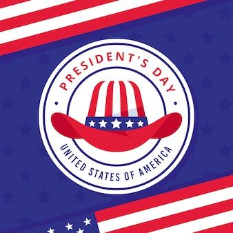Día del presidente con sombrero y estrellas