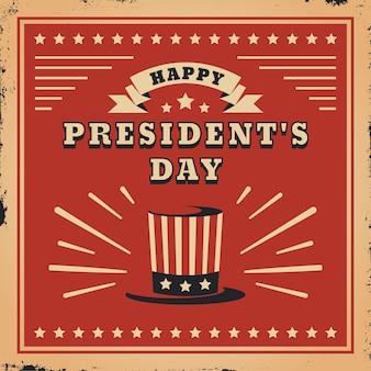 Día del presidente vintage y sombrero de copa con bandera