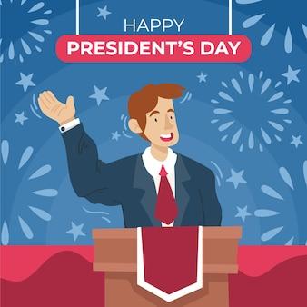 Día de los presidentes dibujados a mano