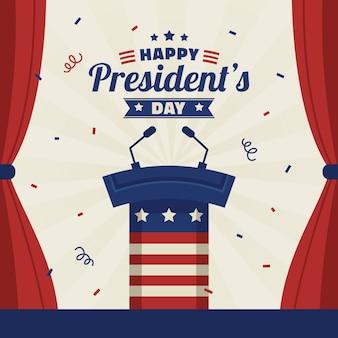 Día de presidentes de diseño plano
