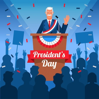 Dia de los presidentes de diseño plano