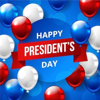 Día de los presidentes con diseño realista de globos