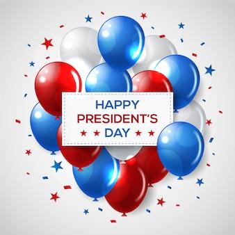 Día de presidentes con evento realista de globos