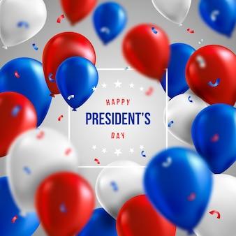 Día de los presidentes con globos realistas y saludo