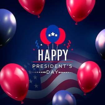 Día de los presidentes con globos realistas.