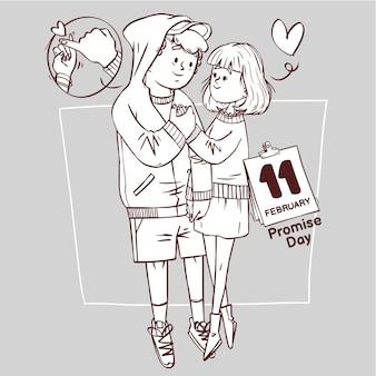 Día de la promesa arte lineal super lindo amor alegre romántico san valentín pareja citas regalo dibujado a mano ilustración de contorno