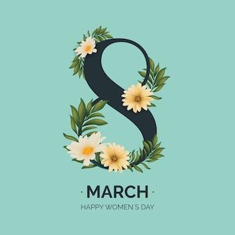 Día realista de la mujer 8 de marzo con flores y hojas.