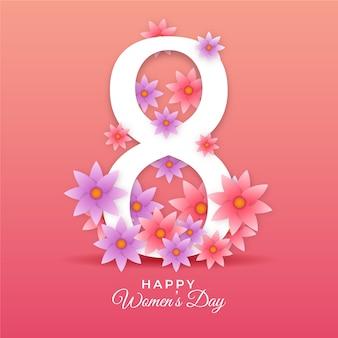 Día realista de la mujer con número y flor.