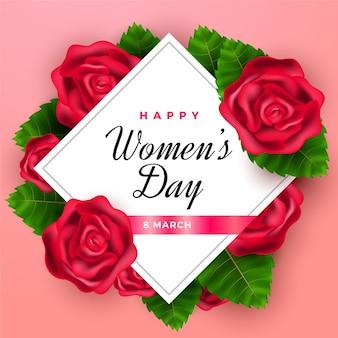 Día realista de la mujer con rosas.